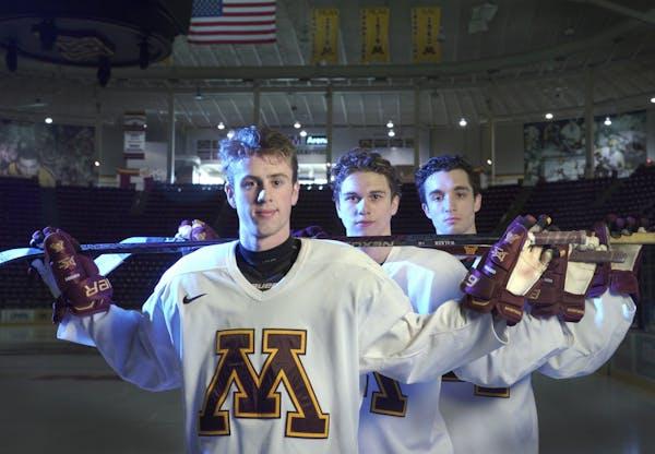 Gophers freshmen, from left, Sammy Walker, Blake McLaughlin and Nathan Burke.