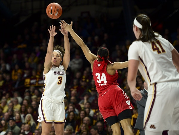 Minnesota Golden Gophers guard/forward Destiny Pitts (3) hit a 3-pointer while being defended by Wisconsin Badgers forward Imani Lewis (34).