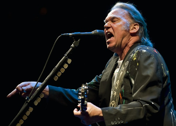 Neil Young during a 2008 performance at the Xcel Energy Center.