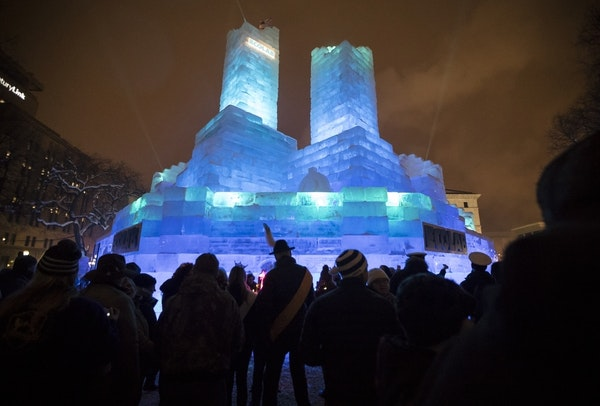 The 2018 St. Paul Winter Carnival ice palace.