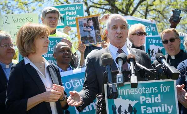 Former Gov. Mark Dayton was unable to pass family leave benefits in a divided Legislature.