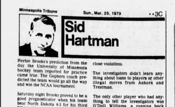 Sid in '79: Read Hartman's column from the Gophers' 1979 NCAA hockey title
