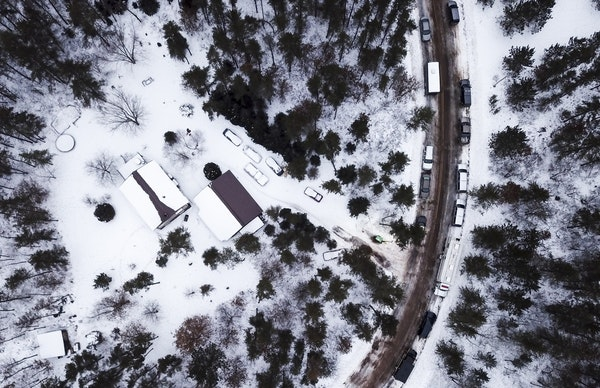 The cabin outside of Gordon, Wis., where Jayme Closs was held for 88 days was surrounded by a swarm of law enforcement vehicles Saturday morning.