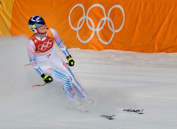 Lindsey Vonn reacted after her run at the Women's Downhill Jeongseon Alpine Centre on Wednesday. ] CARLOS GONZALEZ ï cgonzalez@startribune.com - Febr