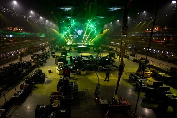 The newly reborn Armory in downtown Minneapolis, shown getting ready for Super Bowl shows, will host the free three-day music festival for the NCAA Ma