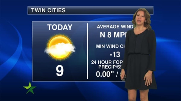 Afternoon forecast: Sunny and cold; high 9