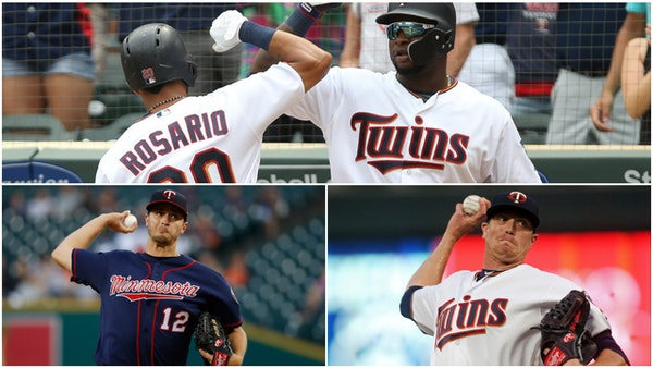 Players who agreed to terms with the Twins include Eddie Rosario and Miguel Sano (top); Jake Odorizzi and Kyle Gibson (bottom)