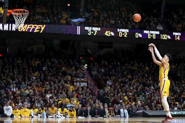 Amir Coffey shot a free throw last season. Coffey is a 72 percent free-throw shooter, but he missed five of eight attempts in Tuesday night's loss to