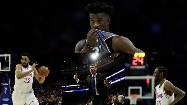 Before Jimmy Butler (top) left the Wolves via a trade he forced, he accused the team of lacking toughness. When they met again Tuesday in Philadelphia