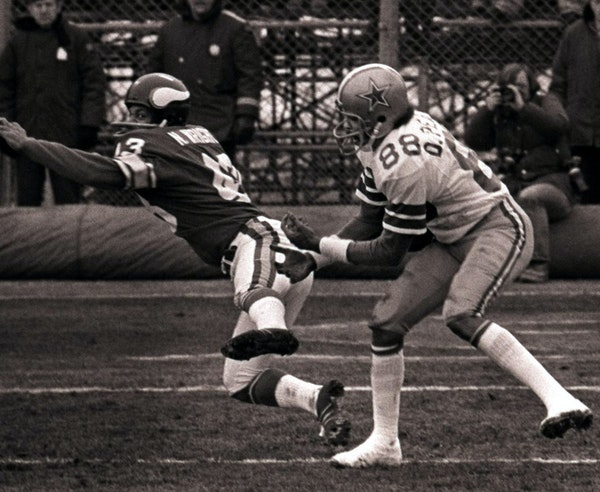 Cowboys receiver Drew Pearson caught what eventually became known as a ''Hail Mary Pass'' on his left hip after pushing the Vikings' Nate Wr