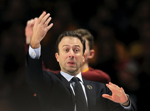Minnesota head coach Richard Pitino gestures against Rutgers during the second half of an NCAA college basketball game Saturday, Jan. 12, 2019, in Min