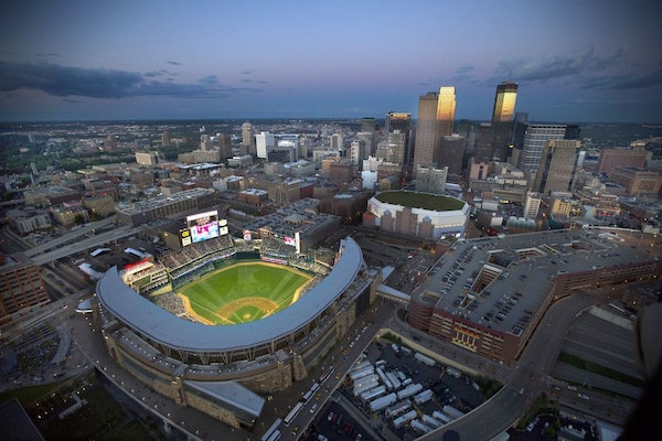 Target Field in the shadow of the Minneapolis skyline during the 2014 All-Star Game.