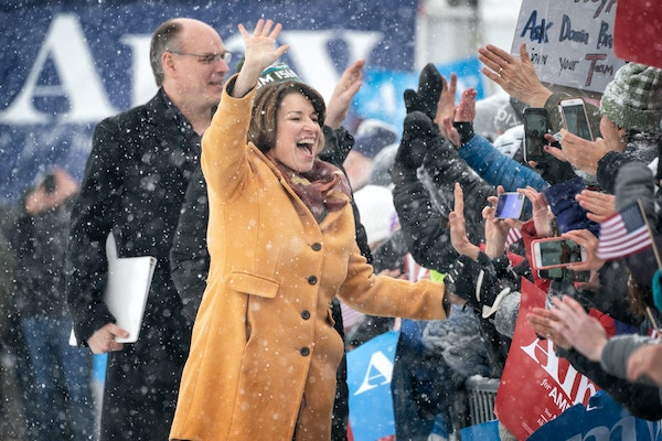 Sen. Amy Klobuchar made her announcement to run for president Sunday from a snowy Boom Island Park in Minneapolis.