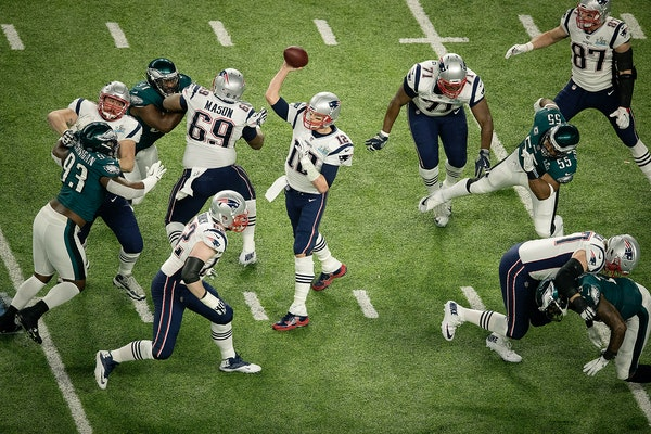 New England quarterback Tom Brady threw a pass during his team's opening drive vs. the Philadelphia Eagles in Super Bowl LII in Minneapolis