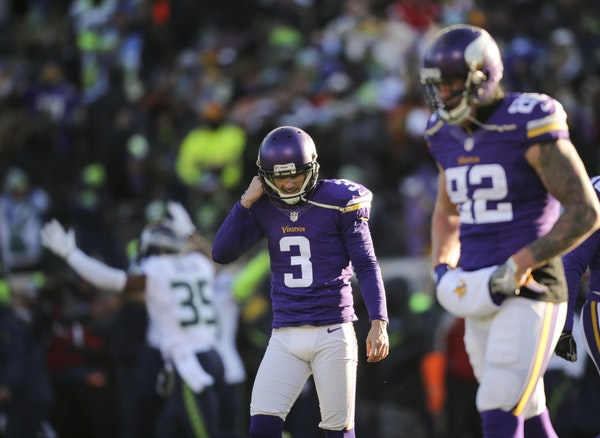 Vikings kicker Blair Walsh walked away after his chance for a game-winning 27 yard field goal sailed wide left against the Seahawks in the 2016 playof