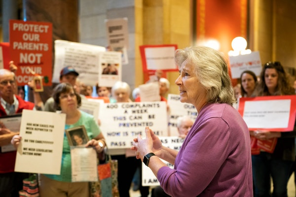 Last May, Health Commissioner Jan Malcolm addressed a crowd of seniors and elder care advocates at a rally at the State Capitol in which they called f
