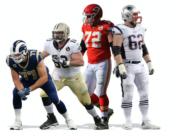 Rams tackle Andrew Whitworth, Saints center Max Unger, Chiefs offensive tackle Eric Fisher and Patriots guard Joe Thuney