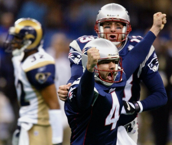 Adam Vinatieri kicked the game-winning 48-yard field goal to beat the St. Louis Rams 20-17 in Super Bowl XXXVI at the Louisiana Superdome in New Orlea