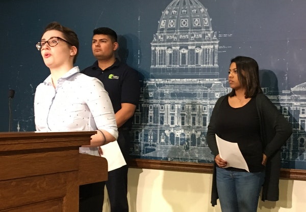 Kayla Shelley, a St. Cloud State University student, spoke at a press conference in support of a bill that would make two years of college free. Frank