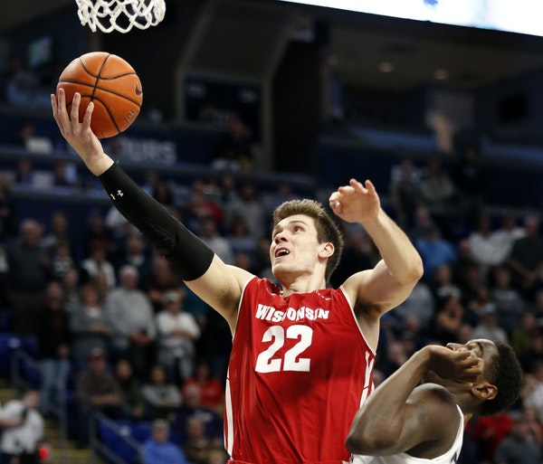 """Ethan Happ came back to Wisconsin after testing the NBA waters. """"There were people who thought I could benefit from another year,"""" he said."""