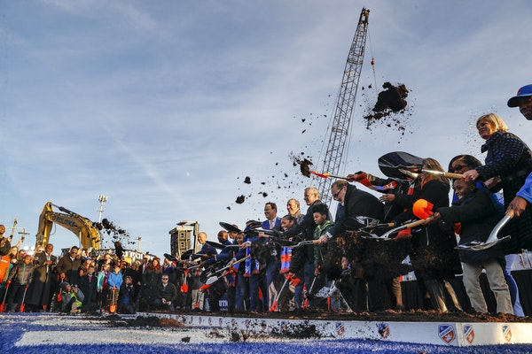 The dirt flew at a formal groundbreaking ceremony on a new stadium for new Major League Soccer expansion team FC Cincinnati on Dec. 18, 2018.