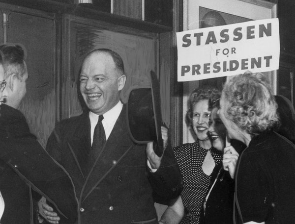 In April 1948, volunteers at the Stassen for President headquarters in the Pillsbury Building greeted Harold Stassen as he returned victorious from th
