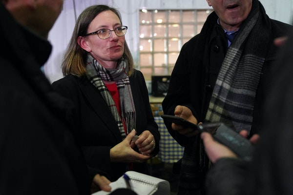 Sarah Strommen answered questions from reporters after she was appointed DNR commissioner by Gov.-elect Tim Walz on Thursday.