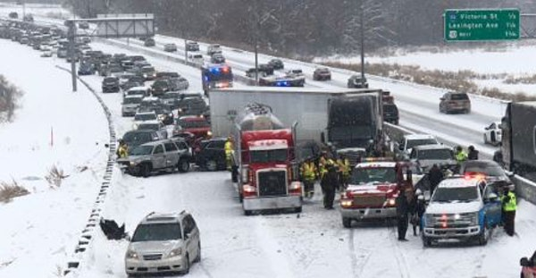 A huge pileup of vehicles in the east metro.