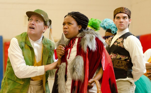 """Ten Thousand Things' musical, """"Into the Woods,"""" takes fairy-tale characters (played by, from left, Jim Lichtscheidl, Rajané Katurah and Ben Loh"""