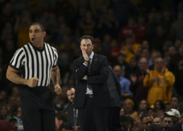 Gophers coach Richard Pitino watched his team lose to Wisconsin on Feb. 6, the second game in this four-game skid.