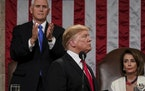 President Donald Trump gives his State of the Union address to a joint session of Congress, Tuesday, Feb. 5, 2019 at the Capitol in Washington, as Vic