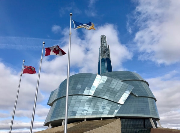 Designed like a stone mountain wrapped in dove's wings or a glass cloud, the Canadian Museum for Human Rights opened in 2014.