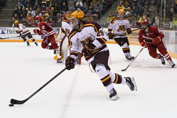 Gophers defenseman Tyler Nanne kept the puck away from Wisconsin during a game last month.