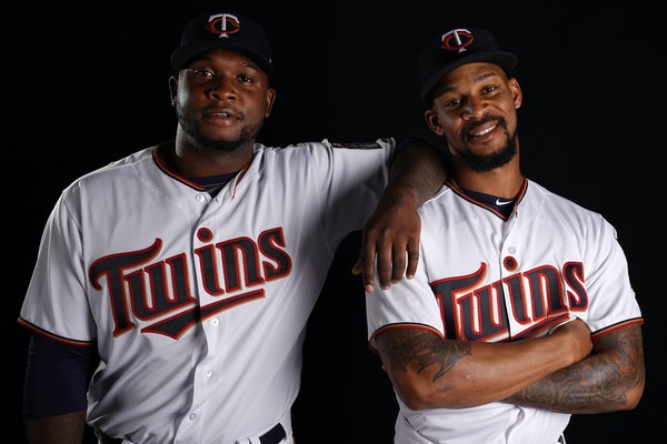 Miguel Sano and Byron Buxton, standing together Friday, have been thought of as the Twins' future for many years — but both took major steps back