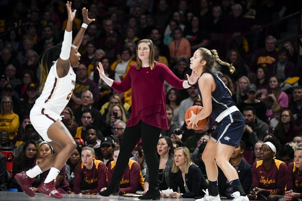 Gophers coach Lindsay Whalen watched as guard Jasmine Brunson defended against New Hampshire guard Sarah Clement in the season opener on Nov. 9 at Wil