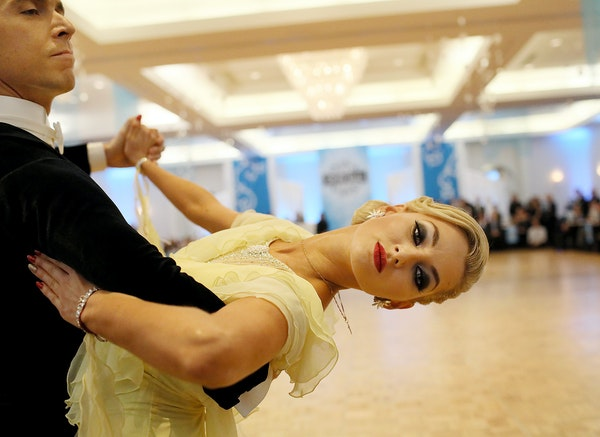Neli Petkova competed with her professional partner, Woodrow Wills, in the Snow Ball DanceSport Competition in Bloomington.