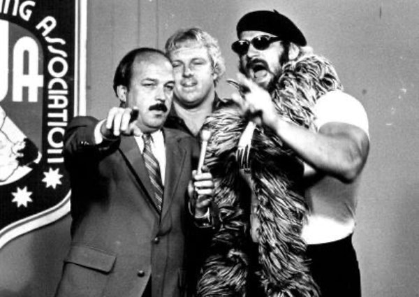 """Interviewer Gene Okerlund jousted with Jesse """"The Body"""" Ventura and his manager, Bobby """"The Brain"""" Heenan in August 1982."""