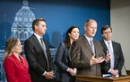 Senate Majority Leader Paul Gazelka (R-Nisswa), center, speaks to the press following the Budget and Economic Forecast with other members of the House