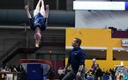 Chaney Neu of Champlin Park performed on the vault at the gymnastics state meet Saturday and received a perfect score.