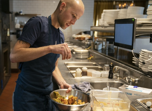 """Fig and Farro's Joshua Hockstatter fixed a """"forgotten foods"""" special — deep-fried vegetable scraps."""
