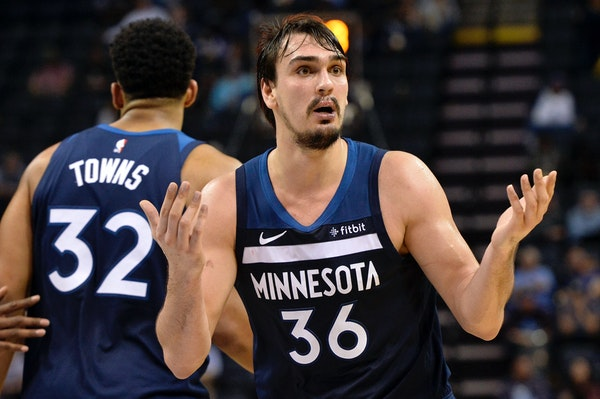 Minnesota Timberwolves forward Dario Saric (36) reacts to a referee's call in the second half of an NBA basketball game against the Memphis Grizzlies
