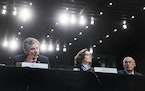 From left: FBI Director Christopher Wray, CIA Director Gina Haspel and National Intelligence Director Dan Coats testify at a hearing with the Senate I
