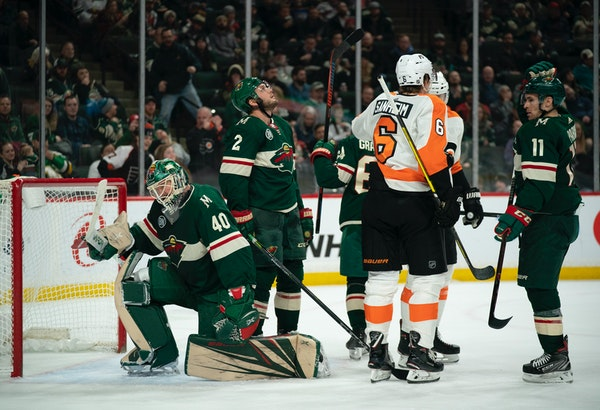 Wild goaltender Devan Dubnyk after he gave up the game-tying goal to Philadelphia Flyers center Sean Couturier in the second period.