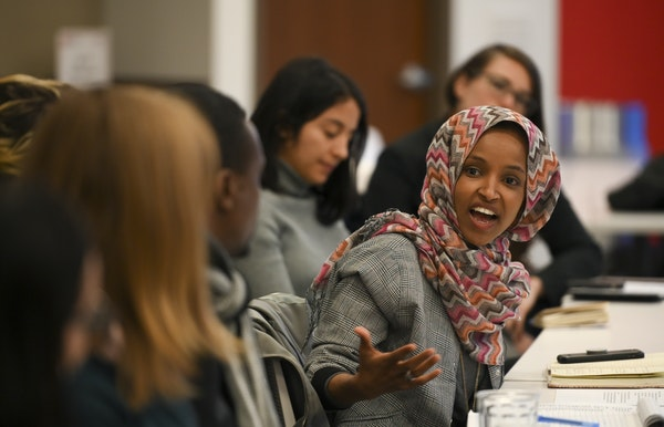 Rep. Ilhan Omar spoke to attendees of an immigration round table discussion Tuesday in Minneapolis.