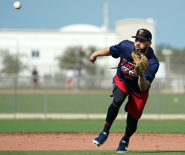 Newly acquired Minnesota Twins utility player Marwin Gonzalez joined his teammates on the practice field for workouts Monday morning.