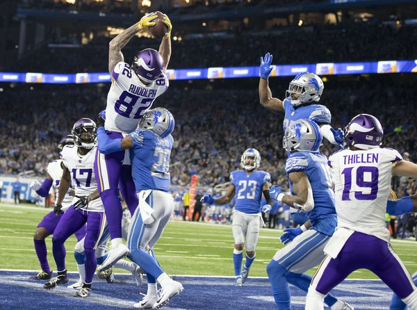 Kyle Rudolph caught a long touchdown pass for the Vikings against Detroit on Dec. 23.