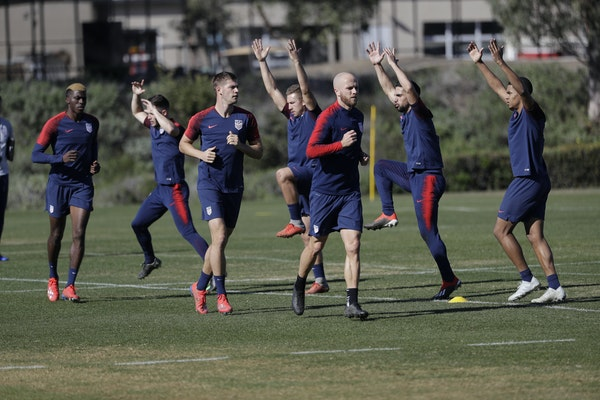 United States players warm up during soccer training camp on Jan. 7 in Chula Vista, Calif.