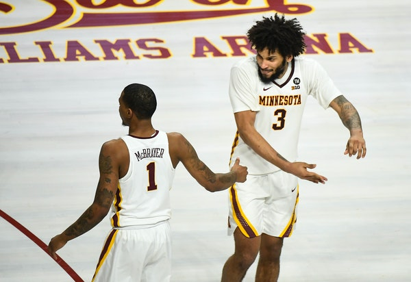 Senior captains Dupree McBrayer (1) and Jordan Murphy have been through much during their careers at Minnesota.