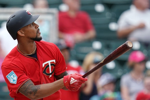 Byron Buxton watched after hitting a two-run home run during Monday's spring training game against the Baltimore Orioles.