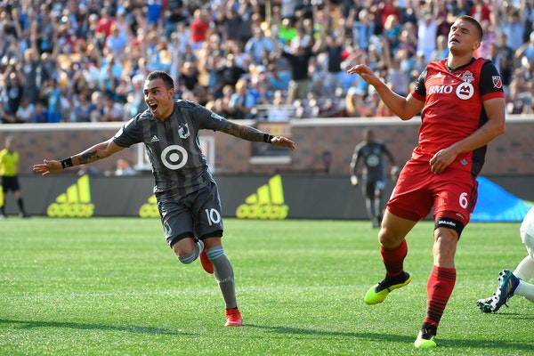 Minnesota United midfielder Miguel Ibarra celebrated a goal against Toronto FC on July 4 last summer. Ibarra scored Saturday in a preseason win over N